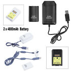 2x 4800mAh Rechargeable Battery+USB Charging Dock Cable for Xbox 360 Controller