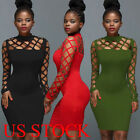 New Womens Ladies Long Sleeve Bodycon Casual Party Evening Cocktail Mini Dress