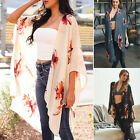 Flowy Floral Print Kimono Lightweight Long Wrap Shawl Open Front Loose Jacket