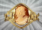 VINTAGE ANTIQUE SHELL CAMEO BRACELET 14KT ROLLED GOLD  SIZE 5 TO 9 WIRE WRAPPED