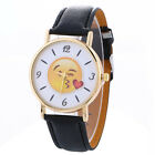 Loveres Unisex Watch Round Expression Dial Leather Quartz Analog Wrist Watches