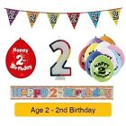 AGE 2 - Happy 2nd Birthday Party Balloons, Banners, Decorations & Badges