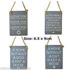 Mini Metal Hanging Sign Love You Friends Dog Cat Text Jute String Home Gift Grey