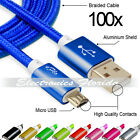 Lot of 100 Nylon Braided Rope Micro USB Data Sync Charger Charging Cable