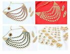 Indian Kundan Long Rani Haar Necklace Earring Set Polki Bollywood Ethnic Jewelry