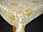FLORAL SWIRL DAMASK WHITE AND GOLD VINYL WIPE CLEAN PVC TABLECLOTH