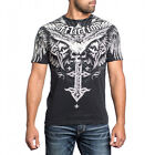 Affliction Men Shirt S/S Crew Neck Death Eyes Skull Wing Cross Black Lava Wash