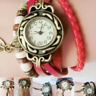 Retro Women Bracelet Watch Leather Band Winding Leaf Pendant Analog Quartz Watch image