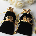 50 x Candy Gift Beloved Bags block Jewelry Pouch Wedding Favors black golden