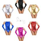 Women's Sissy Club Party Costume Shiny Metallic Fingerless Gloves Prop Cosplay
