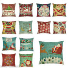 1x Christmas Xmas Pillow Cover Floral Rudolf Santa Claus Bolster Cushion Cover