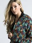 Women's  Daisy Floral Bomber Jacket in Black With Zip Fastening Sizes 8-16