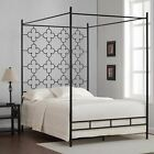Twin Full Queen King Black Quatrefoil Metal Canopy Bed Fr...
