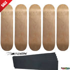 "5 Natural Pro Skateboard Decks Size 8.0"" Lot of 5 blank Stained + Optional Grip image"