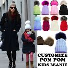 KIDS GIRLS NEW CUSTOMIZABLE PLAIN KNITTED BEANIE FAUX FUR POM POM 2-6 YEARS
