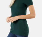 Women Basic Short Sleeve Stretch V-Neck Plain Top Solid Color T Shirt (S-3XL)