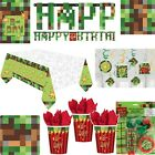 TNT Boys Birthday Minecraft Party Pixel Tableware Supplies Decorations Favor Set