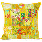 "20"" Yellow Patchwork Sofa Throw Pillow Cushion Cover Couch Boho Indian Bohemian"