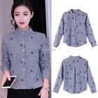 Women Stand Collar Long Sleeve Leaces Embroidery Half Button Up Blouse N98B 01
