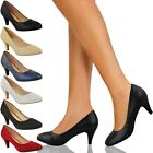 Womens Ladies Low Heel Court Shoes Comfort Work Office Formal Wedding Size New