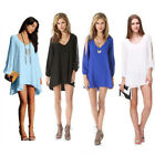 HOT Sexy Women Summer Casual  V Neck Long Sleeve Party Cocktail Short Mini Dress