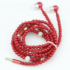 Fashion Jewelry pearl Necklace Earphones Mic Beads In-ear Headphone Hot US Stock