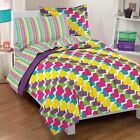 Twin Full Bed Bag Purple Pink Rainbow Hearts Striped 7 pc Comforter Sheet Set