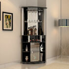 Luxury Corner Bar Unit Contemporary Design w/ Mirrors & Wine Storage