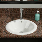 MR Direct Porcelain Oval Self Rimming Bathroom Sink with Overflow