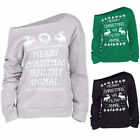 Fashion Casual Winter Christmas Party Off The Shoulder Sweatshirt Tops Pullover