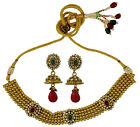 Indian Traditional CZ Choker Necklace Earring Set Women Party Jewelry -BNS536