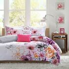 Twin XL Full Queen Bed Purple Orange Pink Gray Floral 5 pc Comforter Set Bedding