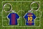 BARCELONA football shirt PERSONALISED KEYRING  your own name & number Catalonia