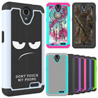 For ZTE Maven 3 (AT&T) - 2in1 Series Hard Cover Hybrid Soft Silicone Phone Case