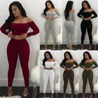 women club outfits - 2PCS Women Off Shoulder Slim Crop Tops+ Pants Bodycon Club Casual Outfits T0S2