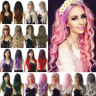 Top Deluxe Halloween Cosplay Long Wig Natural Curly Wavy Full Wigs Pink White sn
