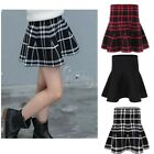 Girls Skater Belted Stretch High Waist Plain Flippy Flared Mini Short Skirt Kids