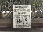 Christmas Sign, Pony, Horse Custom CANVAS, Holidays Decor or Gift