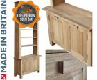 Solid Oak Bookcase,8ft Tall Multi-Storage Display Bookshelves with Cupboards