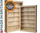 Large Solid Oak Bookcase, 6ft x 4ft Storage Display Shelving, Bookshelves
