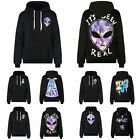 Unisex Casual Saucer Man Printed Hoodies Sweater Sweatshirt Pullover Black