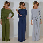 Us Stock Womens Boho Long Sleeve Maxi Dress Ladies Party Evening Belt Dress