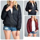 New Women's Quilted Jacket Short Bomber warm Jacket Coat (S-l)