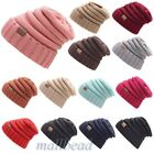 Women Men Winter Knitted Wool Cap Unisex Folds Beanies Hat Solid Color Hip-Hop
