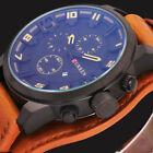 Curren Date Stainless Steel Military Leather Analog Quartz Mens Sport Wristwatch