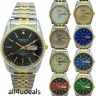 Mens Swanson GOLD SILVER Metal Stretch Elastic Band Day Date RX Analog Watch SW1