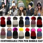 Ladies New Faux Fur Pom Pom Customizable Two Tone Knitted Cashmere Bobble Hat