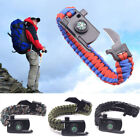 Outdoor Survival Bracelet Paracord Compass Whistle Scraper Rope Gear  15 In 1