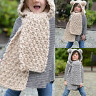 Baby Kids Child Hat Winter Warm Knitted Crochet Hood Pompom Cap Cover Scarf