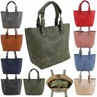 Ladies New Plain Faux Leather Buckled Handles Inner Bag Tote Handbag Set